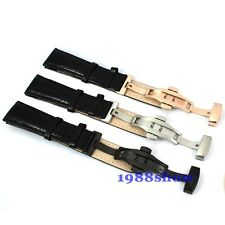 New 20 22mm Black White Brown Leather Watch Strap Band Butterfly Multiple Clasp