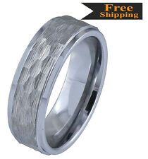 High Grade Tungsten Carbide(Cobalt Free) Custom Made Hammered Style Ring