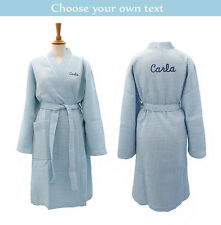 Personalised Light Blue Waffle Bathrobe/Dressing Gown