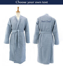 Personalised Dark Blue Waffle Bathrobe/Dressing Gown