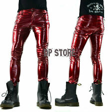 LIP SERVICE RED VINYL PVC LATEX LOOK FETISH SKINNY GOTHIC JEANS SHINY ROCK PANTS