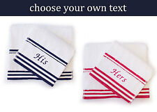 Personalised Bath & Hand Towels - 100% Luxury Turkish Cotton, White with Stripe