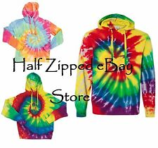 Tie-Dyed Multicolor Spiral Rainbow Swirl Pullover Hooded Sweatshirt 854MS S-3XL