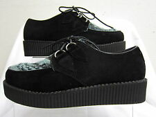 Ladies Spot On Black & Blue Zebra Creeper Style Lace Up Platform Shoes F9588