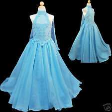 NEW AQUA BLUE GIRL GLITZ PAGEANT FORMAL PARTY FLORAL LONG DRESS 7 8 10 12 14