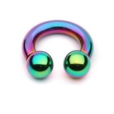 PAIR 2 RAINBOW TITANIUM HORSESHOE RINGS CIRCULAR PIERCING BARBELLS 16g or 14g