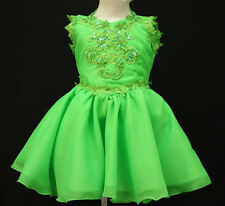 BABY GIRL NATIONAL GLITZ PAGEANT FORMAL PARTY SHORT DRESS Lime Green 6 M-7 YRS