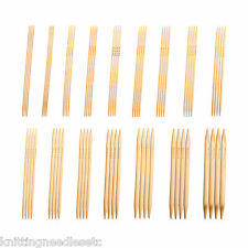 """Double Point Knitting Needles Bamboo 8"""" (~20 cm) Bleached - Many Sizes  [Knitzy]"""