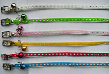 Small Leather Cat Kitten Collar & Bell ' Pick Your Colour ' Glitter Design NEW