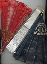 Folding Fan Lace Hand Held Victorian Vamp Ball Room Black Red or White w/ Gold