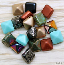 **Pick Your Color**  12pcs OF 12mm FANTASTIC PYRAMID (beadstuds) CZECH BEADS