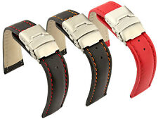 Mens Leather Watch Band Strap Canyon Deployment Clasp 18mm 20mm 22mm 24mm 26- MM
