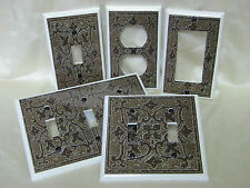 Dark Brown Tuscan Tile Style Design Light Switch Cover Plate Outlet Double GFI