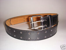 MEN BIG TALL BLACK LEATHER BELT TWO HOLE/ROW SIZE AVAILABLE 46-48 50-52 54-56