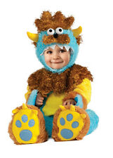 Furry Monster Costume Infant Toddler Boys Child Baby Blue Brown Yellow Horned