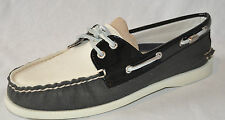 SPERRY TOP-SIDER A/O Black White Canvas Patent Boat Shoe Women Sz 9M or 9.5 NEW!