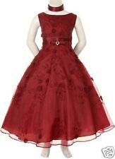 New Children Girl Teen Pageant Prom Party Formal Dress Sz 6 8 10 12 14 Burgundy
