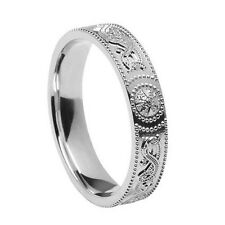 Unisex Warrior Shield Celtic Wedding Band Silver From Ireland