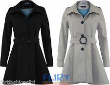 Belted Jacket Hem Tail Pleated Button Up Trench Coat Cotton Casual Womens Ladies