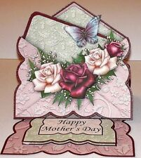 Handmade Greeting Card & Matching Envelope 3D Easel With Roses