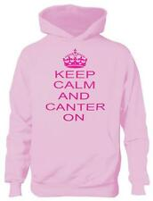 Keep Calm and Canter On Horse Riding Girls Kids Hoodie In Pink Age 5-13