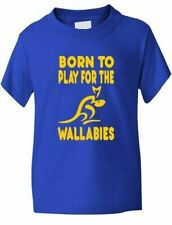 Born To Play For Wallabies Australia Rugby Kids T-Shirt Boys Girls Age 1-13
