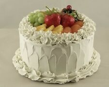 """7"""" Fruit Top Cake Vanilla Frosted Realistic Fake Food Dessert Party Kitchen Prop"""