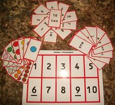 EYFS / Special Needs. 'Numbers 1 - 10 Matching Game'  30 x cards + A4 Game Board