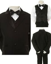 New Born Baby Toddler Boy Black FORMAL Church Wedding Party SUIT TUXEDO sz S-4T