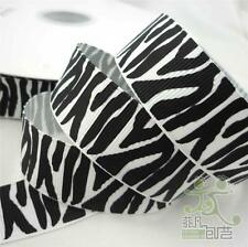 "7/8"" 22mm Black White Zebra Grosgrain RIBBON 5/50 Yard Craft Sewing Ebellishment"