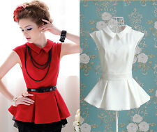 Glamorous White & Red Pleated Peplum Frill Flare Peter Pan Collared Blouse Shirt