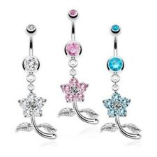 SMALL FLOWER GEM VINE BELLY NAVEL RING DANGLE BUTTON PIERCING JEWELRY B671