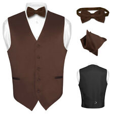 Men's Dress Vest BOWTie CHOCOLATE BROWN Bow Tie Set for Suit or Tuxedo