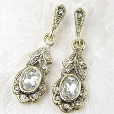 Antique Vintage Style Crystal Earrings YOU CHOOSE COLOUR Antiqued Yellow Gold ep