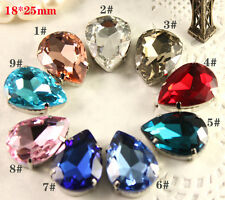 12 Rhinestone 25x18mm Sew On Crystal Teardrop Fancy Big Stone Lot choose color