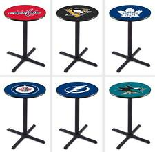 "Choose NHL P-W Team 36"" - 42"" Tall L211 Black X Base Pub Bar Table - 28/36"" Top"