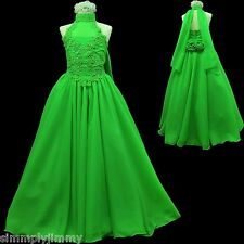 Girl National Glitz Pageant Bridal Formal Long Dress Lime Green 7 8 10 12 14