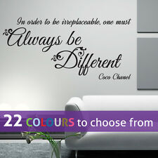 ALWAYS be DIFFERENT Coco Chanel girl CC fashion quote wall sticker art bedroom