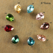 12 Rhinestone 8x6 point back Foiled Crystal Teardrop nail art beads chose color