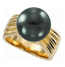 12-13mm Tahitian Black Pearl Ring 10.86g 14K Yellow Gold or White Gold