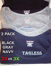 3 BIG Mens Size 2X or 3X Cotton TAGLESS Ribbed Tank Top Wife Beaters A Shirts