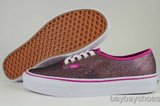VANS AUTHENTIC IRIDESCENT RAINBOW GLITTER PINK/WHITE CLASSIC SKATE WOMENS SIZES