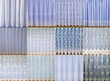 WHITE NET CURTAIN / LACE VOILE CURTAINS PLAIN / FLORAL LEAVES SOLD BY THE METRE