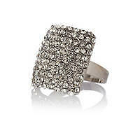 AMAZING RIVER ISLAND SILVER TONE DIAMANTE ENCRUSTED RING (NEW)