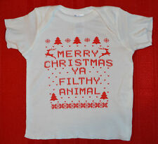Merry Christmas Ya Filthy Animal Baby T Shirt WHITE Newborn 6M 12M 18M