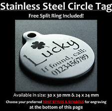 Stainless Steel Circle Pet Tag With Personalised Engraving for Dog Cat Pets