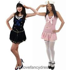 LADIES SAILOR COSTUME DRESS AND HAT NAUTICAL MARINE FANCY DRESS HEN PARTY OUTFIT