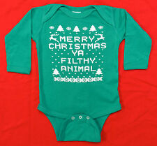 Merry Christmas Ya Filthy Animal Baby T Shirt Creeper GREEN Newborn 6M 12M 18M