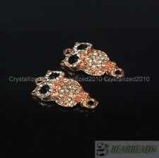 10Pcs Side Ways Crystal Rhinestones Pave Owl Bracelet Connector Charm Beads