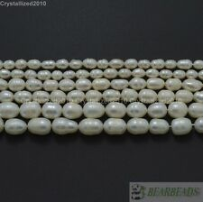 Natural Freshwater White Pearl Oval Rice Bead 15'' 4mm 6mm 7mm 8mm 9mm 10mm 11mm